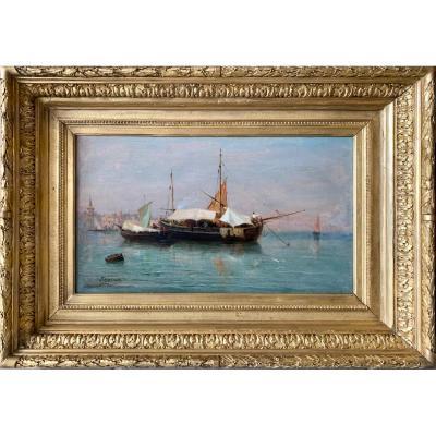 APPIAN Adolphe (1818-1898)  Venise, Barques Marchandes.