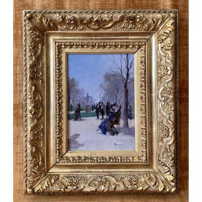 Jardin Des Tuileries, Signé Juana Romani 1869-1924.