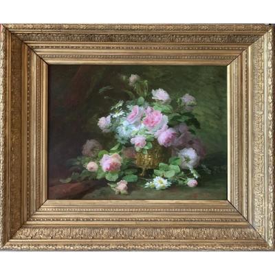 Bouquet De Roses Signé Et Daté 1897 De Thérèse Guérin 1861-1933
