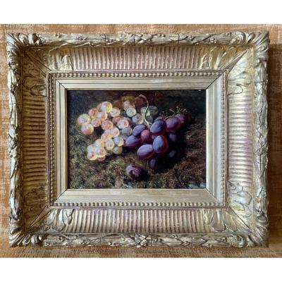 Huile sur panneau représentant une jetée de raisins signée Louis-Jacques Carrey 1822-1871