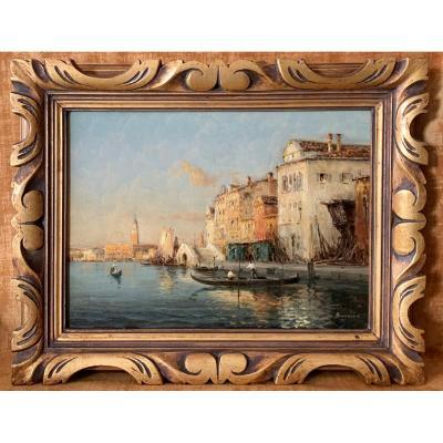 Grand Canal De Venise, huile sur toile signée  Bouvard 1840-1920