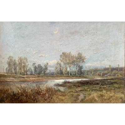Fin D'automne, Huile Sur Toile, Signée et datée Émile Noirot 1887  (1853-1924)