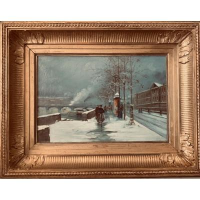 Table Representing The Quai d'Orsay Under The Snow. Oil On Canvas Unsigned.
