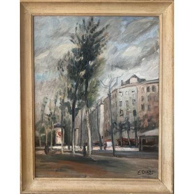 Tableau Signé Émile Didier Daté 1940 Représentant Le Boulevard De La Croix-rousse à Lyon.
