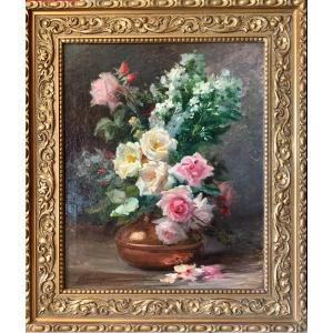 Tableau De Fleurs De Bret-charbonnier Claudia Julia 1863-1951