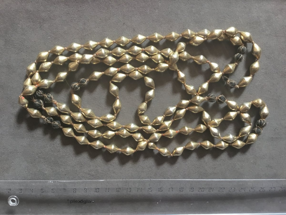Collier Indien  Ancien  Dolki , Olives Recouvert Or 20 Carats