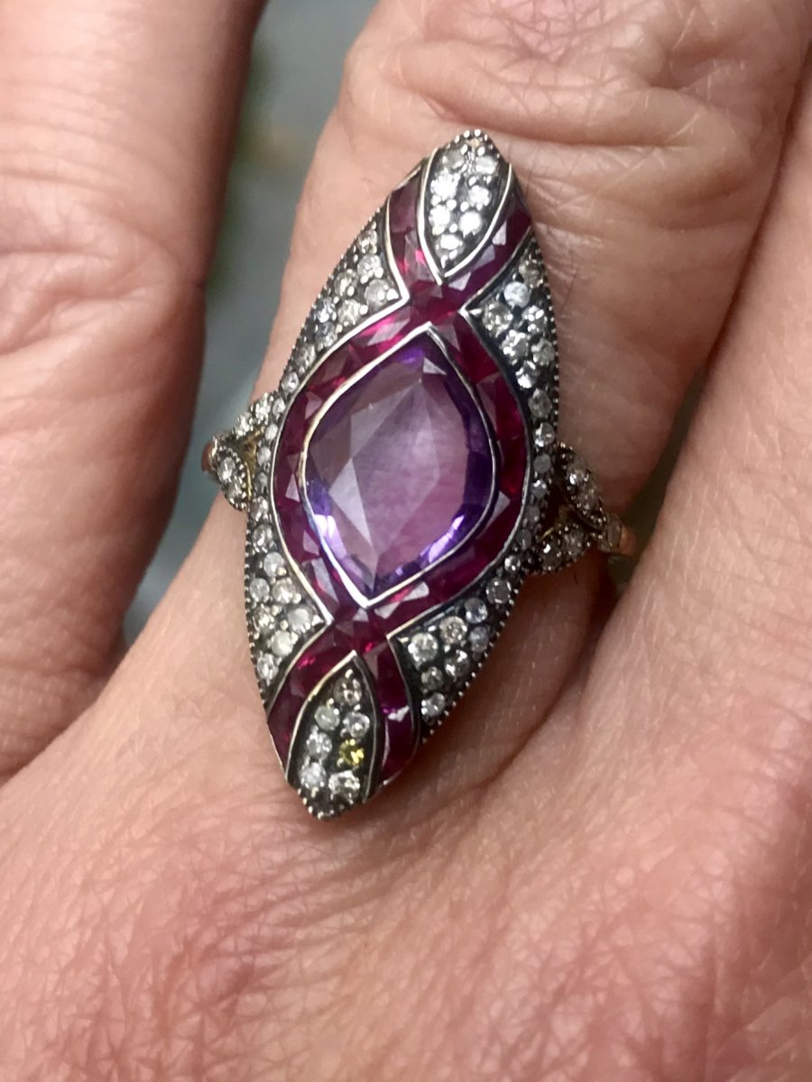 Marquise Or Et Argent Amethyste Rubis Diamamts