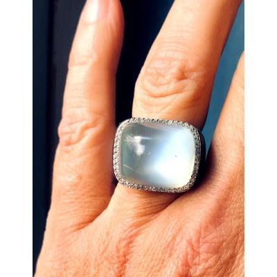 Bague Or Blanc Diamants Pierre De Lune Onyx