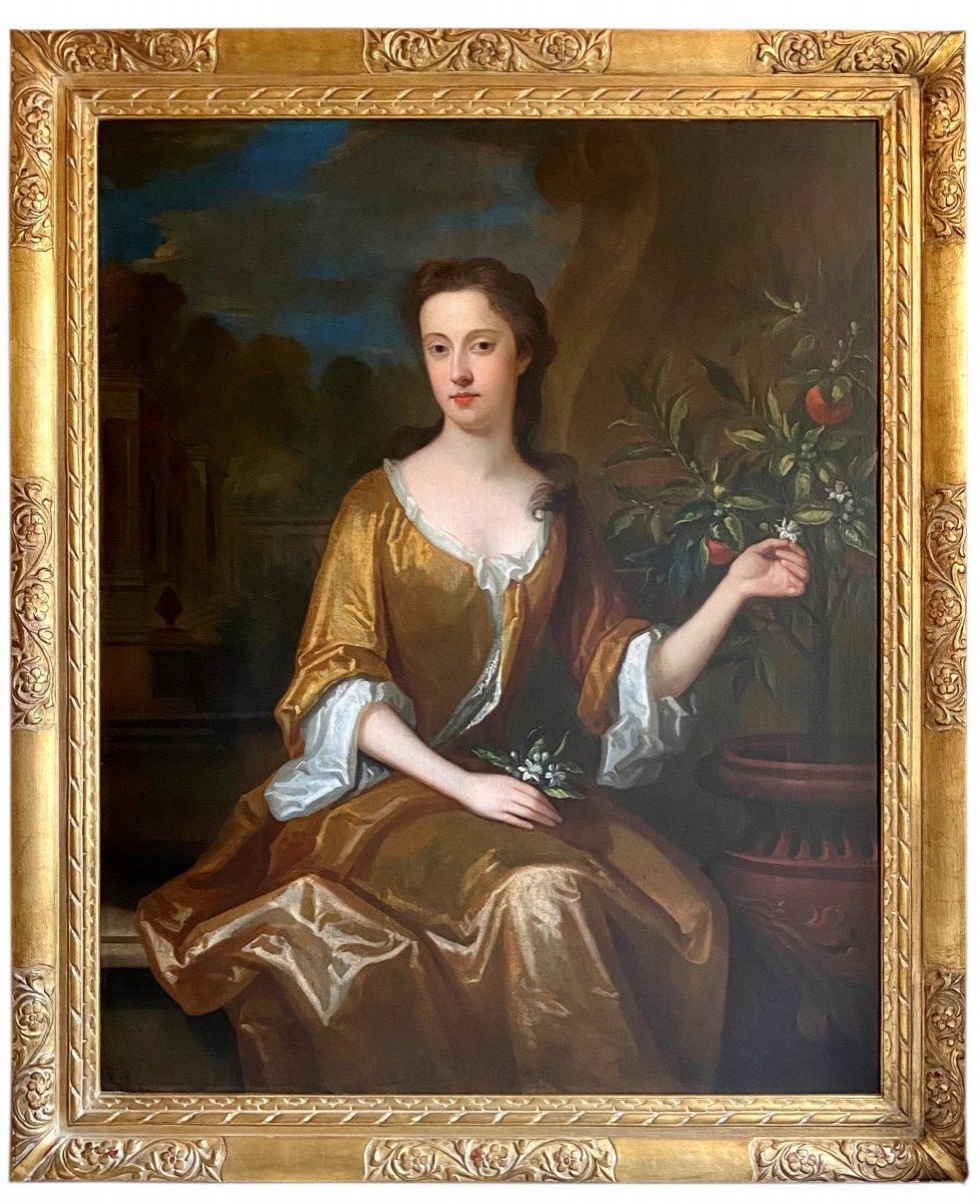 Portrait Anglais d'une Dame De La Fin Du 17ème Siècle Cercle de Charles Jervas (1675-1739)