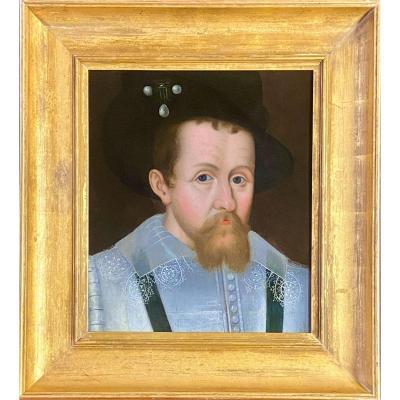 17ème Siècle Huile Sur Panneau Portrait De James I d'Angleterre Et De James VI d'Écosse