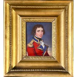 Officer Of The 1st Foot Guard C. 1810 - Attributed To Henry Bone (1755-1834)