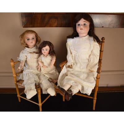 Three Dolls With Porcelain Heads