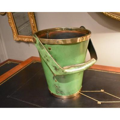 Leather And Brass Wastebasket