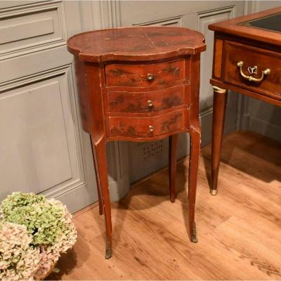 Louis XV Style Red Lacquer Bedside Table