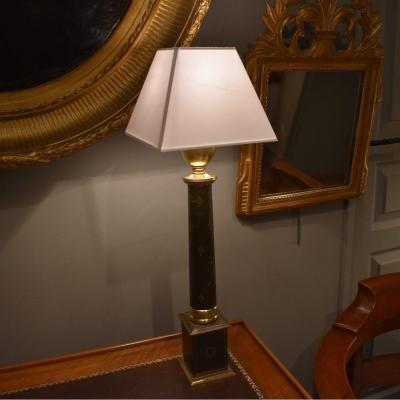 Empire Style Lamp In Leather And Brass