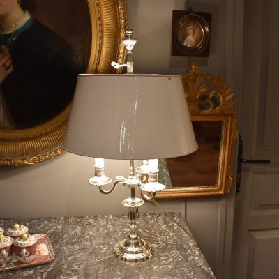 Lampe Bouillotte à Trois Feux En Bronze Argenté