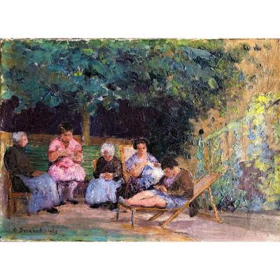 Les Femmes Dans Le Jardin  Huile Sur Toile E Bernard 1929
