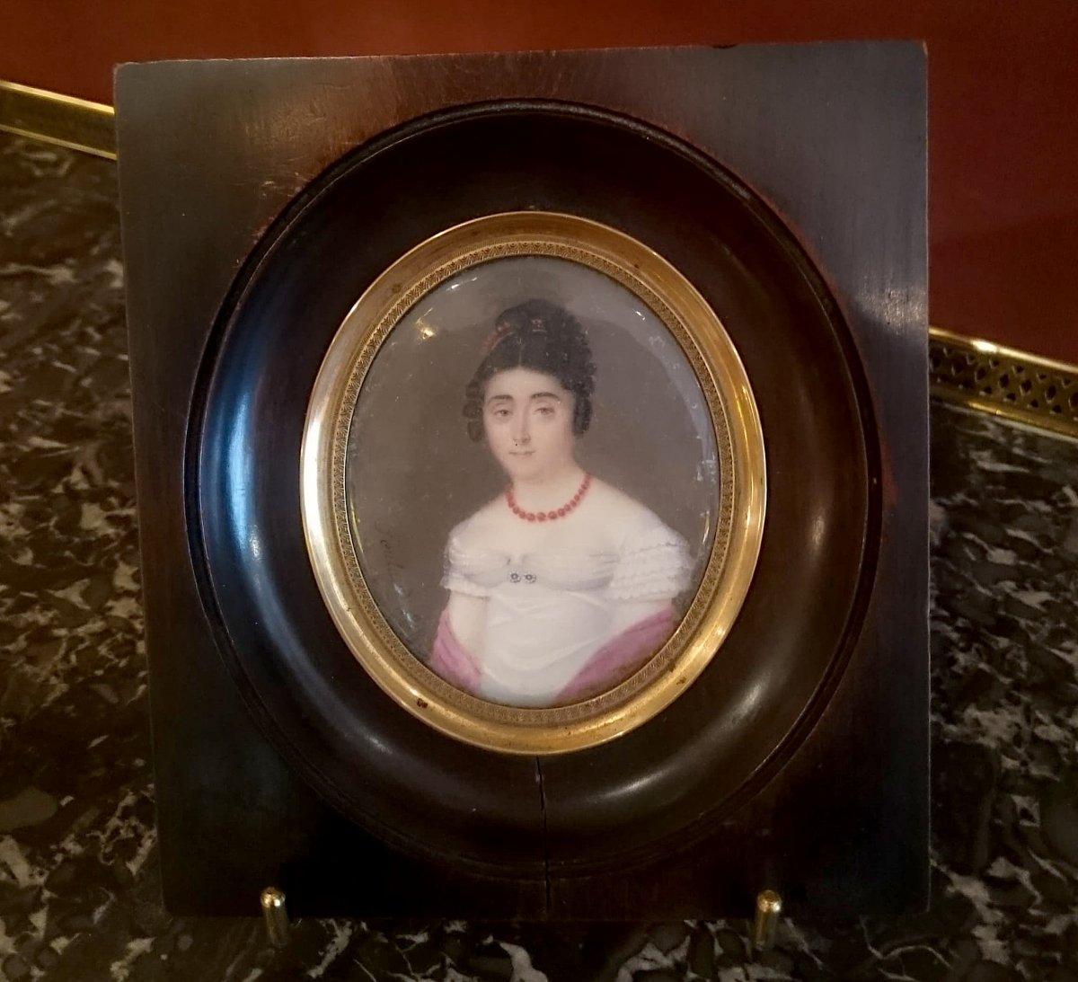Miniature Portrait De Femme Par Feulard