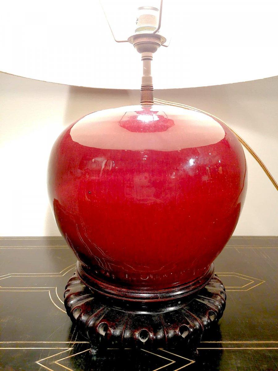 Chine, Vase Sang De Boeuf monté en lampe