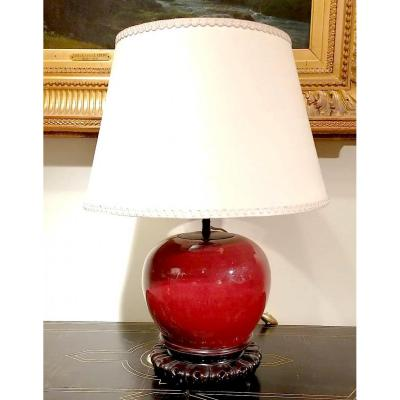 China, Ox Blood Vase Mounted As A Lamp