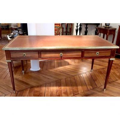 Louis XVI Flat Desk Amarante And Satin Wood