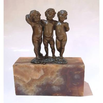 Bronze Three Putti By Andor Ruff
