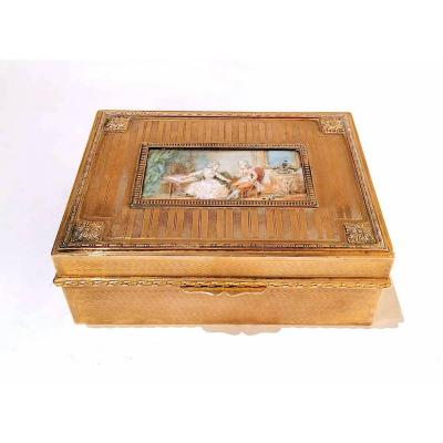 Golden Metal Cigarette Box And Miniature Galante Scene