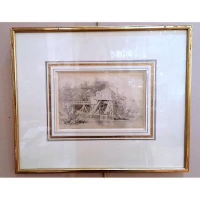 Framed drawing representing the Charenton mill&nbsp;<br />