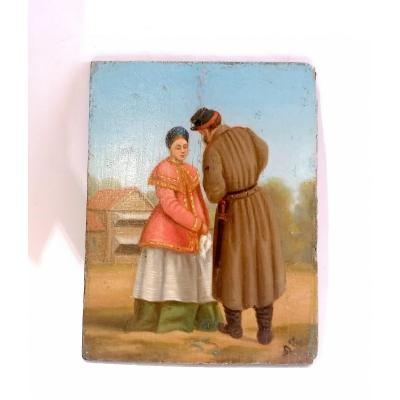 Oil on panel, painted wood, genre scene circa 1870.<br /> Soldier wearing a model 1831 sword and a National Guard kepi discussing with a peasant woman in traditional costume.<br /> Scene probably depicting the soldier&#39;s farewell to his wife holding a handkerchief in her hand.<br /> presence of a monogram lower right.