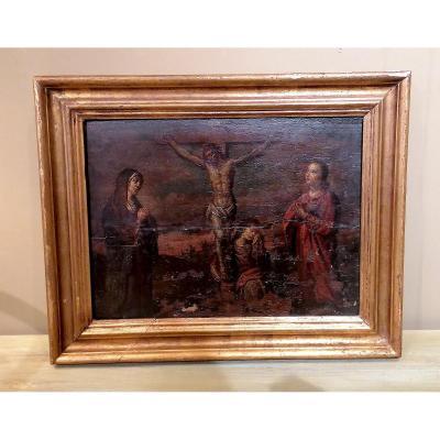 Huile Sur Panneau Crucifixion 17ème Siècle