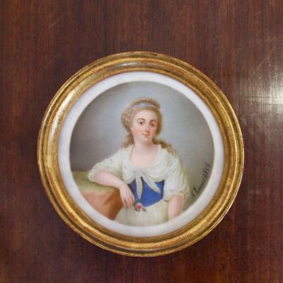 Miniature Sur Porcelaine Portrait Féminin Par Fanny Guinier, 1828