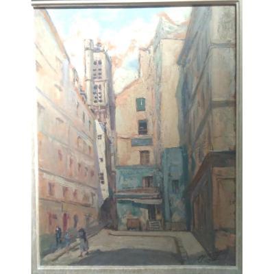 Oil On Cardboard, Saint-gervais Rue Du Grenier Sur l'Eau, Signed Lucien Jonas