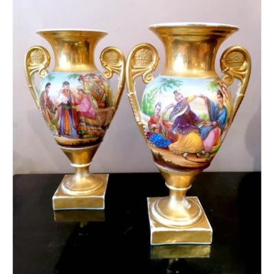 Pair Of Porcelain Vases With Gold Background Restoration Period