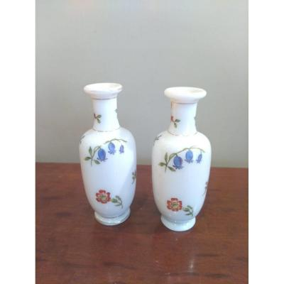Pair Of Small Opaline Vases XIXth Century