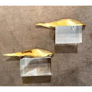 Pair Of Fish Sculptures In Gilt Bronze 1970s