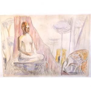 Aquarelle Buddha, 1957 Par André Maire