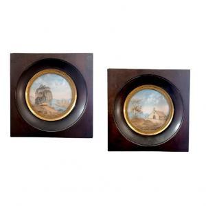 Paire De Miniatures En Cheveux d'époque Restauration