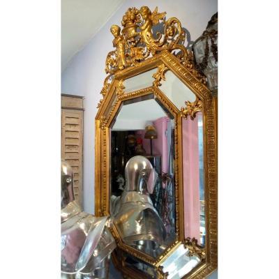 Un Miroir Octogonal En Bois Doré Et Stuc, 1880