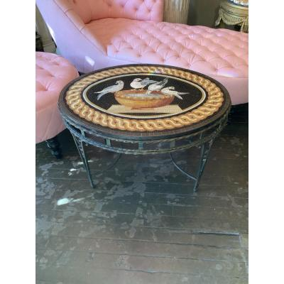 Mosaic Coffee Table D After Model In L Antique, Wrought Iron Base, 1940 Period