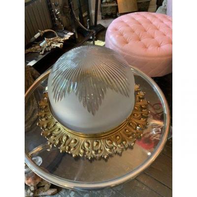 Plafonnier coupe cristal Baccarat monture bronze circa 1880