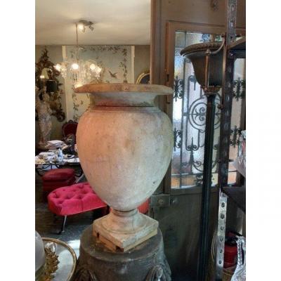 Grand Pot , Forme Médicis, Marbre Blanc De Carrare époque Louis XVIe