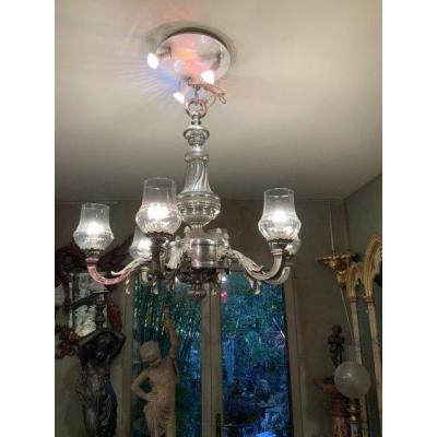 Chiseled And Silver Bronze Chandelier