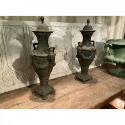 Pair Of Cast Iron Covered Pots