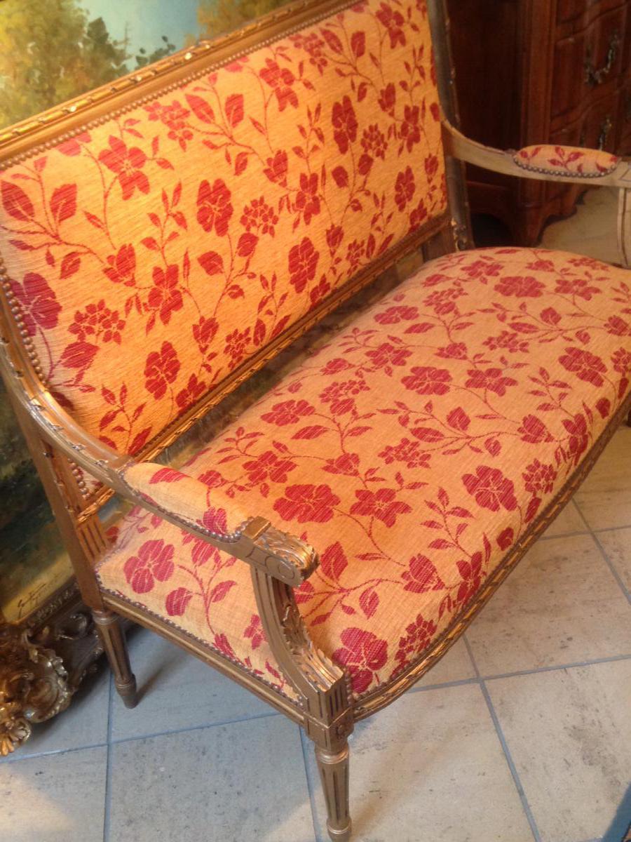 canape de style louis xvi bois dore banquettes canap s. Black Bedroom Furniture Sets. Home Design Ideas