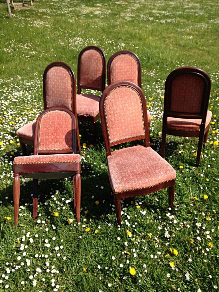 Série de 6 chaises salle à manger - acajou massif Cuba 1925