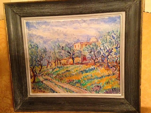 Huile sur toile « Paysage Provençal » D. Gustin XXe