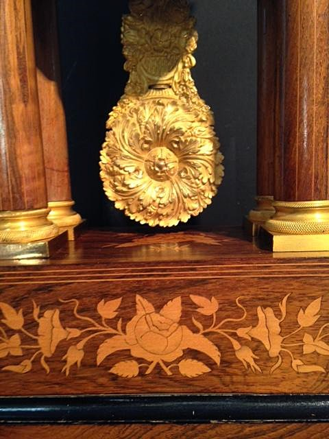 Horloge Charles X à 4 colonnes palissandre et citronnier-photo-2