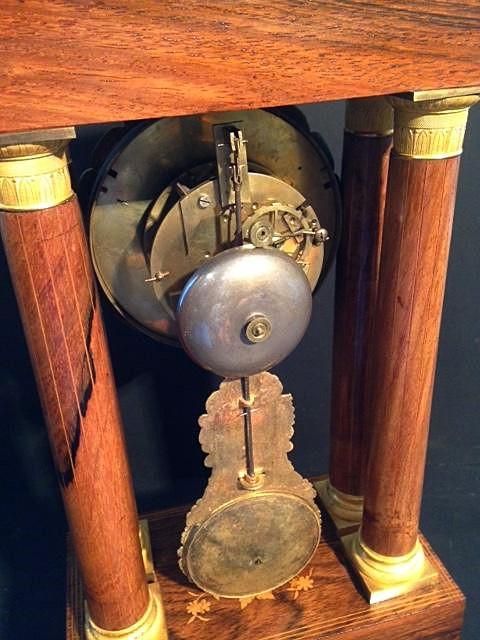 Horloge Charles X à 4 colonnes palissandre et citronnier-photo-3