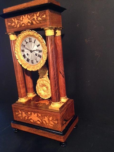 Horloge Charles X à 4 colonnes palissandre et citronnier-photo-1