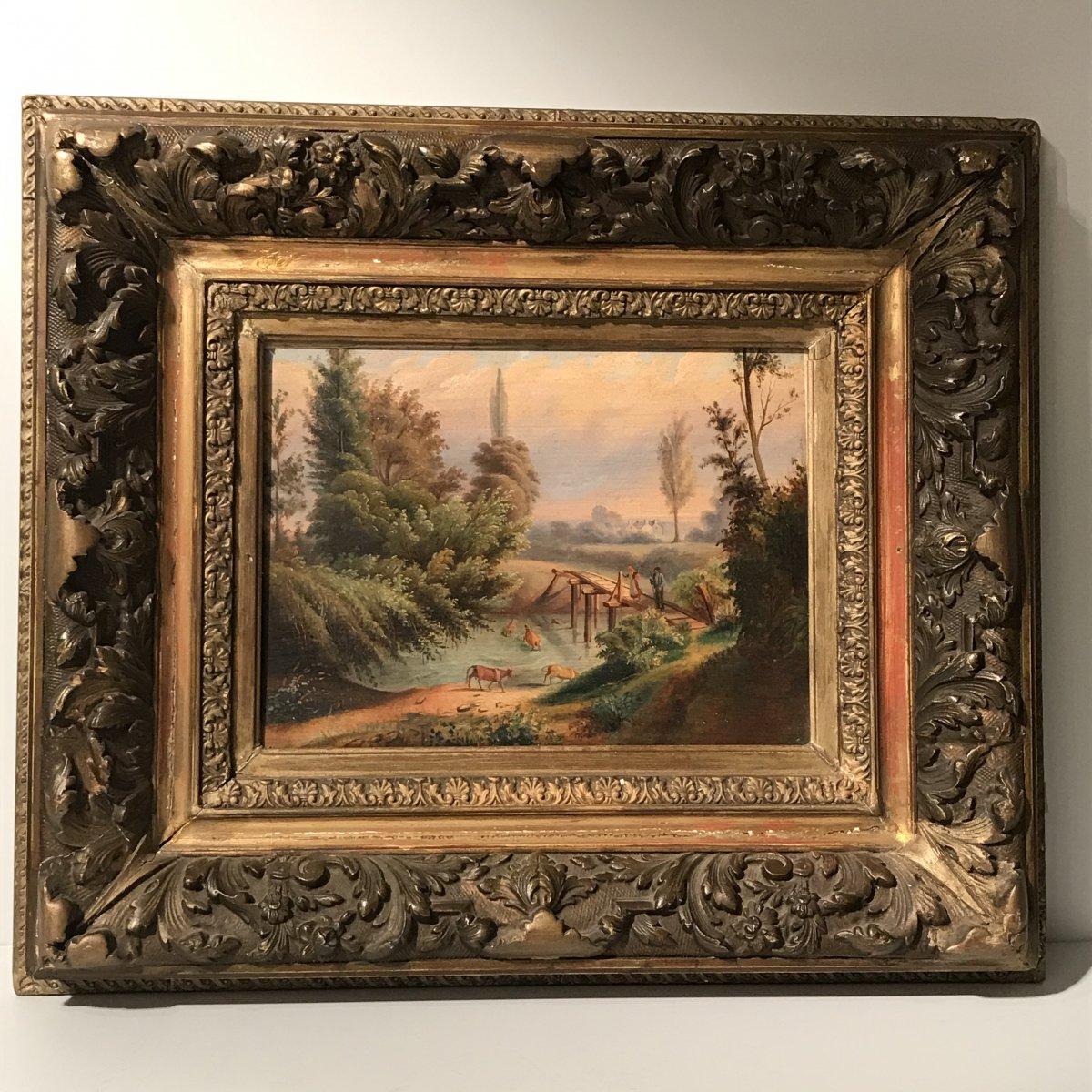 Peinture Huile sur panneau « Scène Bucolique »  XIXe